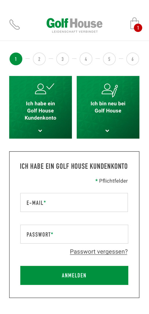 The checkout in the Golf House E-Commerce