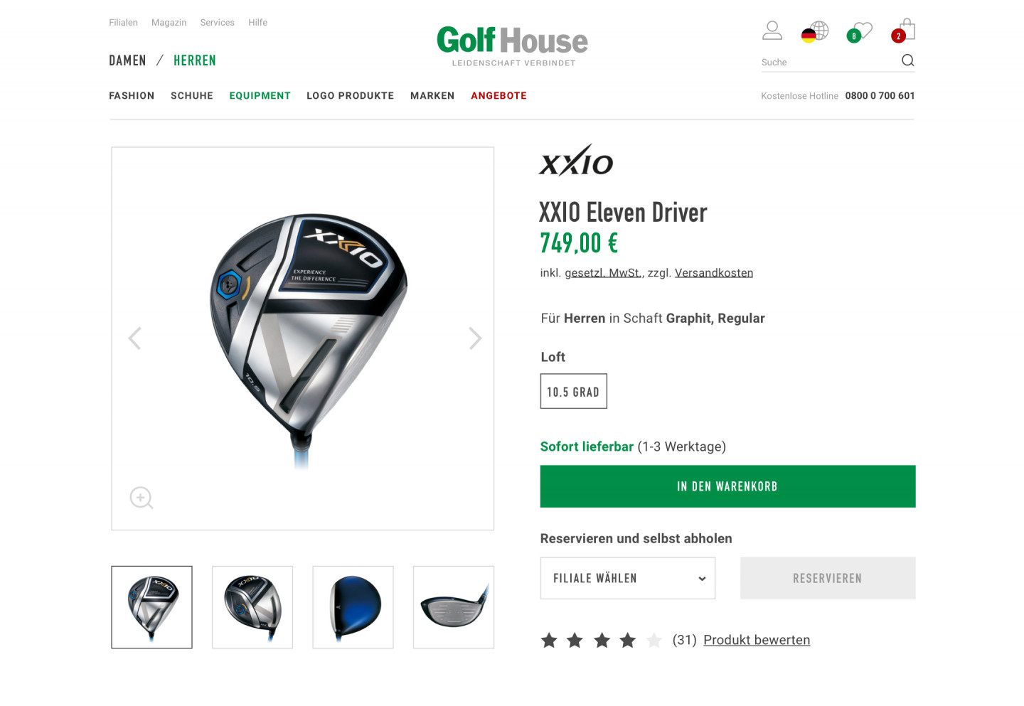 A product page in the Golf House E-Commerce