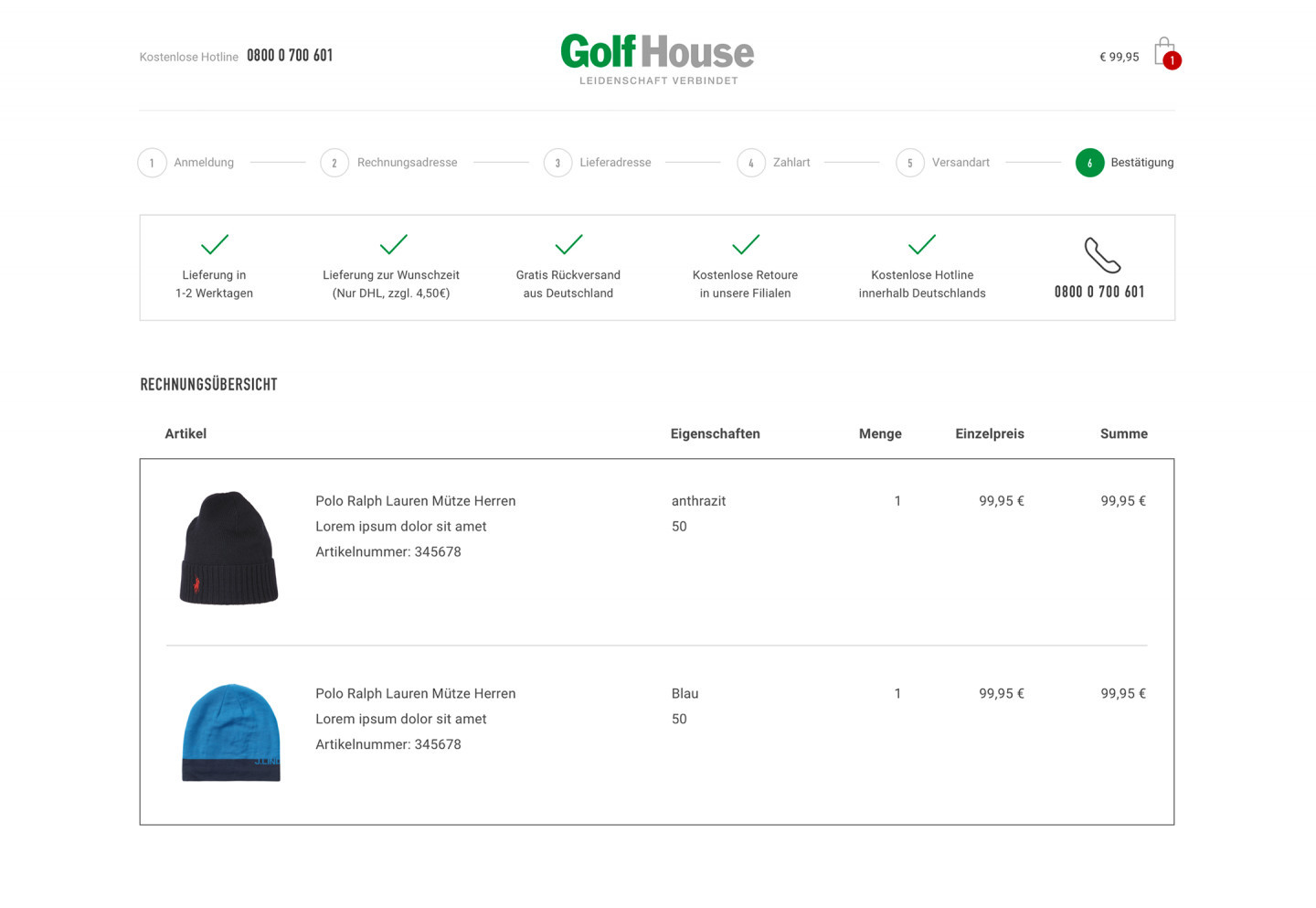 The order process in the Golf House E-Commerce