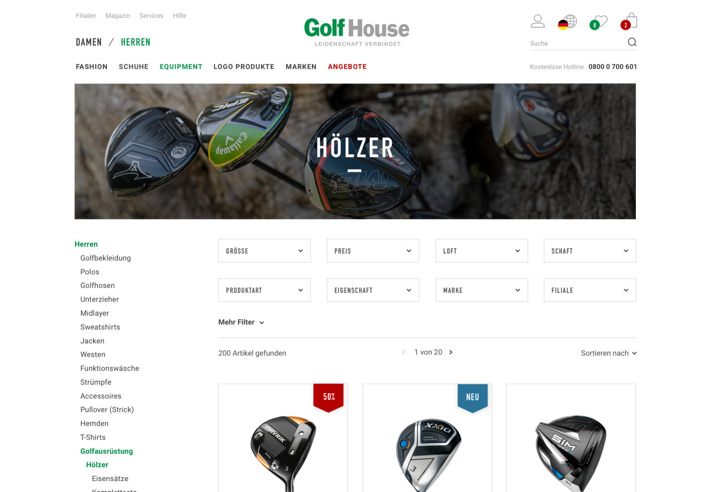 A category overview in the Golf House E-Commerce