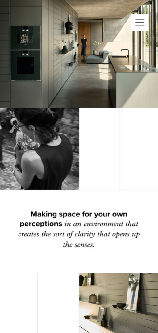 "Poggenpohl website detail on mobile screen ""Making space for your own perceptions …"""