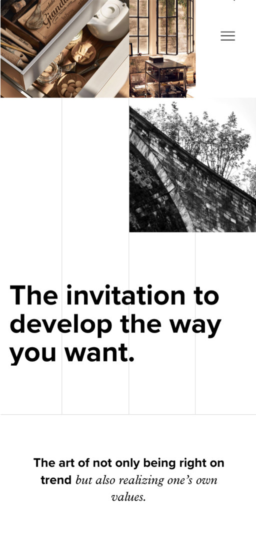 "Poggenpohl website detail on mobile screen ""The invitation to develop the way you want …"""