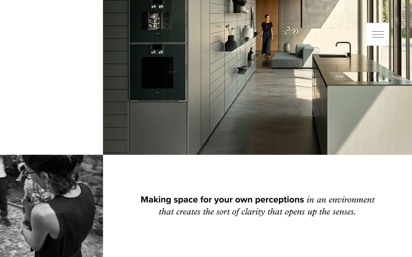 "Poggenpohl website detail ""Making space for your own perceptions …"""